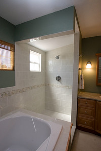 Recently renovated master bathroom with marble countertop and Italian tilework (the glass shower enclosure had not been installed when this picture was taken). 2611 Woodside Place, Oxnard CA. (Image taken with Canon EOS 20D at ISO 400, f11.0, 1/30 sec and 12mm)