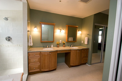 Recently renovated master bathroom with marble countertop and Italian tilework. 2611 Woodside Place, Oxnard CA. (Image taken with Canon EOS 20D at ISO 400, f11.0, 1/15 sec and 10mm)