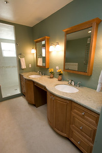 Recently renovated master bathroom with marble countertop and Italian tilework. 2611 Woodside Place, Oxnard CA. (Image taken with Canon EOS 20D at ISO 400, f11.0, 1/15 sec and 12mm)