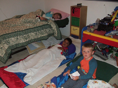 Isaac having a sleep over with Christopher and Sydney.