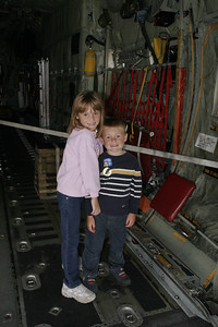 Sydney and Christopher in the back of a C-130 at the 41st NAS Point Mugu Air Show.