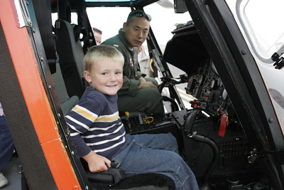 Christopher piloting a Coast Guard helicopter at the 41st NAS Point Mugu Air Show.