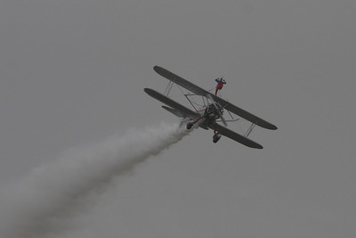 Margaret Stivers was on the wing of a 1939 Stearman B75N1, N450SR bi-plane being piloted by Hartley Folstab for a Silver Wings Wing Walking performance at the 41st NAS Point Mugu Air Show.