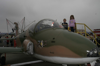 Christopher and Sydney next to a Jet Provost T5 at the 41st NAS Point Mugu Air Show. The plane was used by the Royal Air Force as a jet trainer between 1972 and 1992. The plane was flown by Robert Stambovsky, USMCR (Retired).