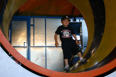 Christopher enjoying the fun house at Seabee Days.