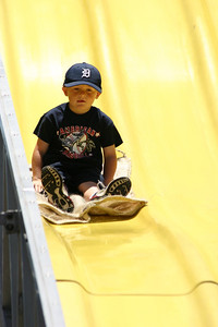 Christopher coming down a big slide during the Seabee Days festivities.