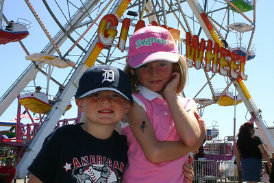 Christopher and Sydney have had a busy day during Seabee Days--from seeing the exhibits to enjoying the rides.