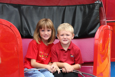 Sydney and Christopher ready to take a spin on one of the rides at the 2005 Ventura County Fair.