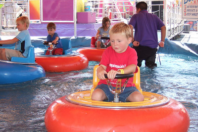 The bumper boats are Christopher's favorite ride at the 2005 Ventura County Fair.