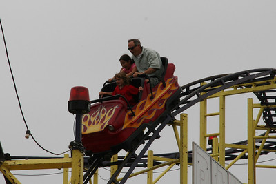 Sydney on the roller coaster, which is a new ride this year at the 2005 Ventura County Fair.