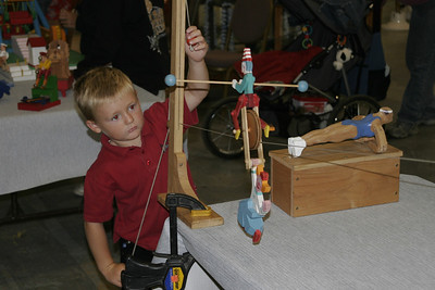 Christopher enjoying the wooden toys at the 2005 Ventura County Fair