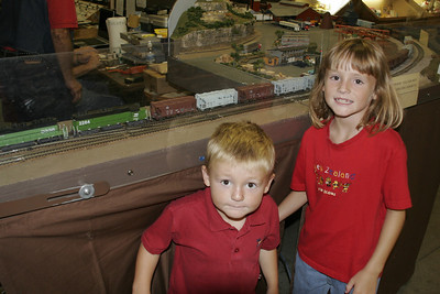 Christopher and Sydney looking at the hobby train setup at the 2005 Ventura County Fair.