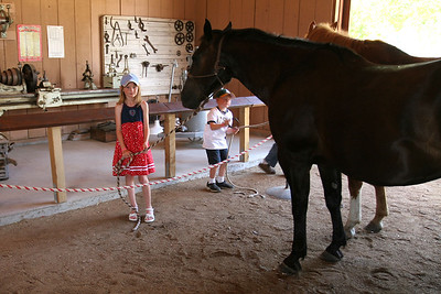 Sydney and Christopher holding the horses while Frank Roth demonstrates the ferrier trade during Valley Heritage Days. The kids spent most of the day holding the horses--they just loved it!
