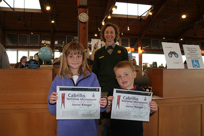 Sydney and Christopher are now Junior Rangers after being sworn in by Ranger Patricia at Cabrillo National Monument.