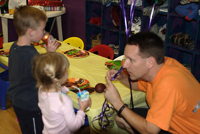 Pat with Jake G. and Paige at Christopher's 6th birthday party at the Ventura YMCA.