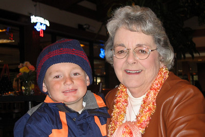 Christopher and Grandma are glad to be indoors after touring the Anheuser-Busch brewery in Fort Collins.