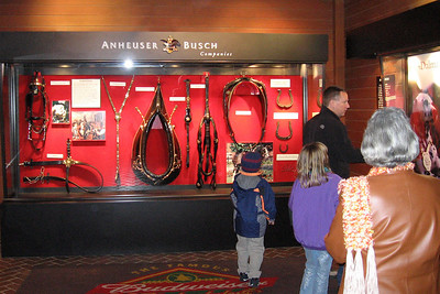 Grandma, Pat, Christopher and Sydney checking out the Clydesdale Hamlet at the Anheuser-Busch brewery in Fort Collins.