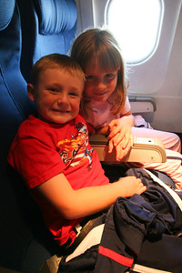Christopher and Sydney on our flight to Colorado to visit Grandma and Papa and the rest of the family.