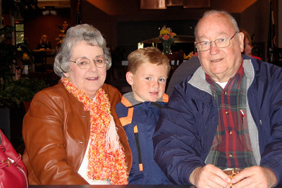 Grandma, Christopher and Papa are glad to be indoors after touring the Anheuser-Busch brewery in Fort Collins.