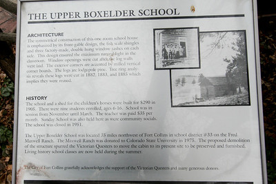 The Upper Boxelder School, a one-room school house built in 1905, on the grounds of the Fort Collins Museum.