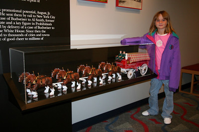 The scale model display of the Clydesdales and beer wagon serves as a nice teaser for what Sydney has really been waiting for--a visit to the Clydesdale Hamlet at the Anheuser-Busch brewery in Fort Collins.