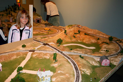 Sydney and the barn she made that was added to the new railroad exhibit at the Fort Collins Museum.