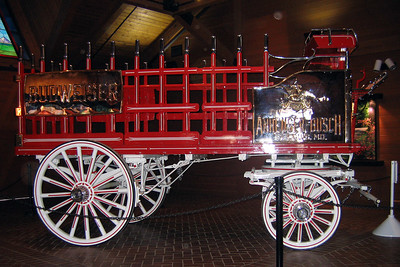 A Budweiser beer wagon in the Clydesdale Hamlet at the Anheuser-Busch brewery in Fort Collins.