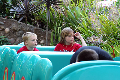 Christopher and Sydney enjoying a ride on Heimlich's Chew Chew Train at Disney's California Advenure Park. Heimlich journeys for tasty morsels and takes you along for a ride down a switchback trail lined with delectable goodies.