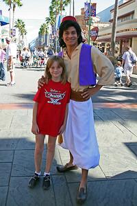 Sydney and Aladdin at Disney's California Adventure Park.