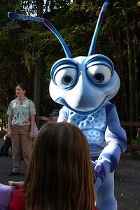 Sydney getting Flik's autograph in Disney's California Adventure Park.