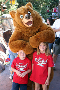 """Christopher and Sydney with Kenai after """"The Magic of Brother Bear"""" show at Disney's California Adventure Park."""