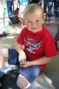 Christopher hanging out waiting for a show at Disney's California Adventure Park.