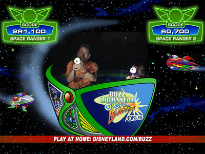 Recruits Pat and Sydney in the midst of battle in the Buzz Lightyear Astro Blasters ride, where we piloted our Star Cruiser through treacherous terrain while zapping enemy targets and racking up points in an interactive and intergalactic battle against the Evil Emperor Zurg.
