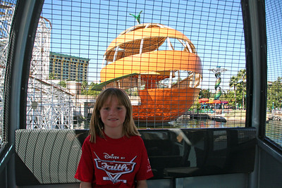 Sydney (and Kathy) riding in the Sun Wheel at Disney's California Adventure Park. The girls took a ride in a stationary gondola while the boys were the real thrill-seekers by riding in the swinging AND sliding gondolas that whip back and forth as the wheel rotates.