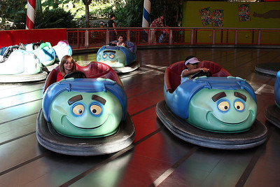 """Sydney enjoying Tuck and Roll's Drive'Em Buggies at Disney's California Adventure Park. At P.T. Flea's circus, the acrobatic Tuck 'n' Roll, from Disney/Pixar's """"a bug's life"""" put on quite a show and you are along for the ride."""