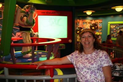 Tracy at the Buzz Lightyear Astro Blaster ride