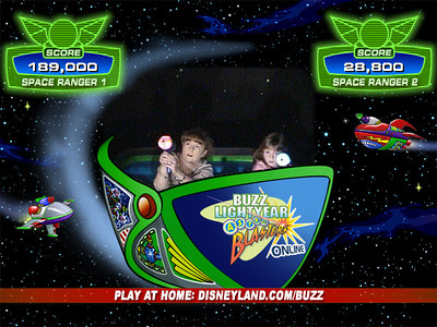 Recruits Kathy and Sydney in the midst of battle in the Buzz Lightyear Astro Blasters ride, where we piloted our Star Cruiser through treacherous terrain while zapping enemy targets and racking up points in an interactive and intergalactic battle against the Evil Emperor Zurg.