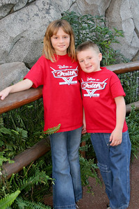 Sydney and Christopher hanging out in the Redwood Creek Challenge Trail area of California Adventure