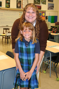 Sydney with her 3rd grade teacher, Ms. Daniel, on the first day back to school for the 2006-2007 school year at St. John's Lutheran School.
