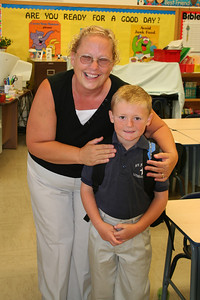 Christopher with Mrs. K on his first day at St. John's Lutheran School.