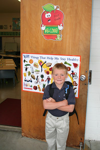 Christopher outside of his 1st grade classroom on his first day at St. John's Lutheran School.