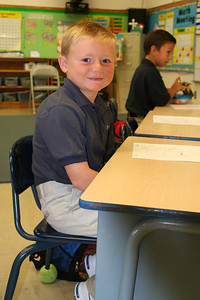 Christopher on his first day at St. John's Lutheran School.