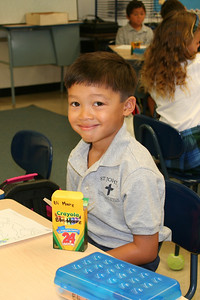 Eli on his first day at St. John's Lutheran School.