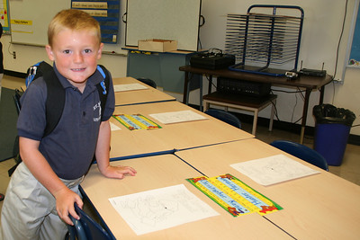 Christopher at his 1st grade desk on his first day at St. John's Lutheran School.