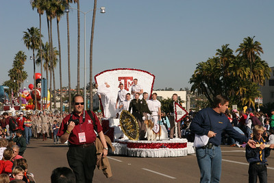 Texas A&M Yell Leaders and Corps of Cadet members with Reveille, the official mascot of Texas A&M University, in the 2006 Port of San Diego Big Bay Balloon Parade.