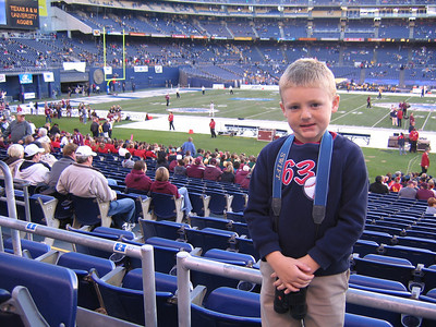 Christopher getting ready for the big game. 2006 Holiday Bowl, Texas A&M Aggies vs. California Bears.