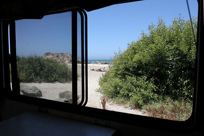 What a great place to have lunch as you can't beat the view from inside the fifth wheel of Spooner's Cove in Montaña de Oro State Park. Pat parked the truck and fifth wheel in the day use area as he and Sydney were heading to Morro Strand State Beach in the afternoon for one last night of camping.