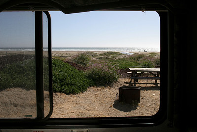 View from the fifth wheel of Morro Strand State Beach.
