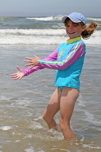Sydney enjoying the beach during our camping trip to Pismo State Beach's North Beach Campground.