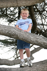 Christopher posing in the trees in the North Beach Campground at Pismo State Beach.